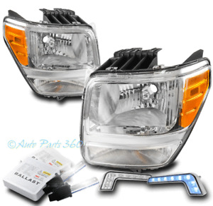 For 07-11 Dodge Nitro Replacement Chrome Headlight Lamp +Bumper Blue LED DRL+HID