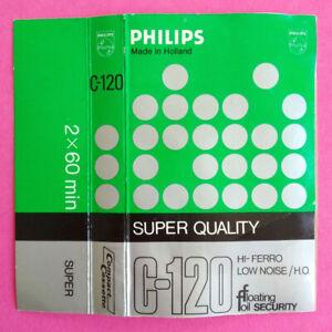 CUSTODIA INLAY MC Musicassetta PHILIPS C-120 c120 Compact Cassette Vintage USATA