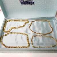 Vintage Four Small Dainty Gold Tone Bracelets Chain Gift Costume Jewellery