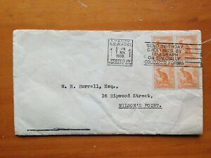 1938 AUSTRALIA 1/2d ROO AVERTISING PERMANENT TRUSTEE COVER WITH BIRTHDAY SLOGAN