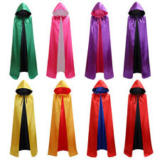 Reversible Adult Kids Satin Gothic Hooded Cloak Cape Medieval Halloween Costume