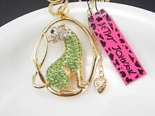 Betsey Johnson fashion jewelry green Rhinestones Leopard pendant necklace # A029