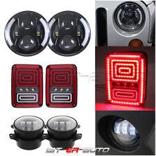 Blue Halo 7inch LED Headlight & 4'' Fog Light & US Tail Lamp For Jeep Wrangler