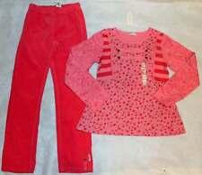 NWT Naartjie Raindrop Stripe Pink Top Shirt Stretch Corduroy Legging Pant 9 Yrs