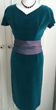 True Vintage 1950s Turquoise Green Velvet Wiggle Dress UK Size 10-12