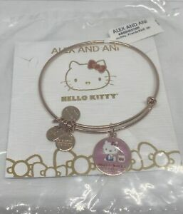 Alex Ani Hello Kitty Friends Charm Bangle Gold Pink Finish New with Tag