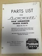 Bennett Parts Catalog Manual ~Model 170 172 173 RAM Submerged Power Pumps