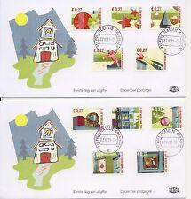 Decemberzegels 2001 op 4 Edel FDC's - Blanco / Open klep