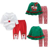 Newborn Baby Girls Christmas Outfits Romper Tops Pants 2PCS Long Sleeves Clothes