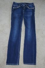 Junior's LA idol USA 30x34 Denim Blue Jeans Boot Cut Embellished Size 7 Used/GC