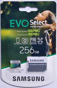 Samsung EVO Select 256 GB microSD + SD-Adapter 100MB/s 4K UHD microSDXC UHS-I U3