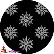 Christmas Decorations -  6 Pack Silver Glitter Snowflake - Xmas Tree Decorations