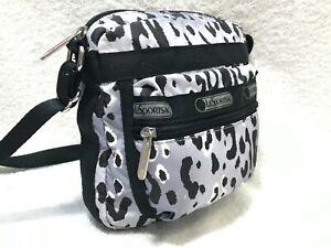 LeSportsac Mini Crossbody Black and White Top Zipper Bag ~ EUC, NICE!