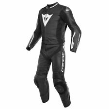Dainese Avro D-Air Motorcycle Two Piece Leather Suit Black / Black / White