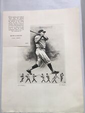 "RARE ""THR IMMORTAL BABE"" BABE RUTH Etching  ARTIST SIGNED R.H. PALENSKE"