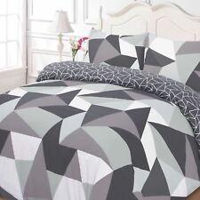 Formes Géométrique Set Housse de Couette Double Réversible Triangles Noir Gris