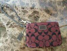 Coach Wristlet Classic C Design Burgundy With Brown Leather Accents