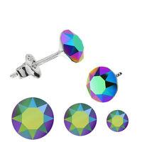 Sterling Silver Stud Pierced Earrings SCARABAEUS GREEN Swarovski Elements