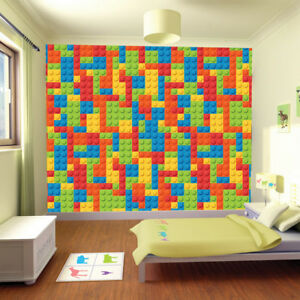 Building Block Background Wallpaper Wall Mural Photo Children Kids Bedroom