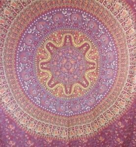 "CYNTHIA ROWLEY Print TAPESTRY 86"" x 58"" Deep Pink Purple Mandala Spread Wall"