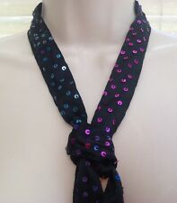 Accessorize Black Sequin Thin Scarf Neck Tie Hair Head Band Belt Party NEW