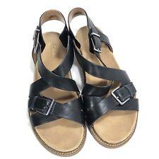 Clarks Artisan Leather Buckle Strappy Gladiator Sandal Women Size 9.5 Black MINT