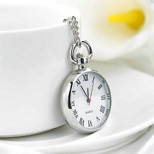 Antique White Dial Quartz Round Pocket Watch Necklace silver Chain Pendant 9K