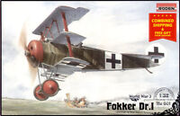 PLASTIC MODEL KIT FOKKER DR.I GERMAN FIGHTER-TRIPLANE WWI 1/32 sacle RODEN 601