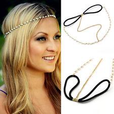 Women Head Chain Pearl Forehead Head Piece Hair Band Golden Beach Hair Accessory