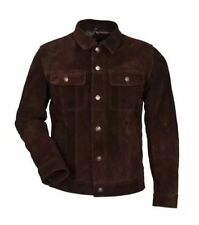 Men's BROWN SUEDE TRUCKER 1280 Classic FITTING Cowhide Western Leather Jacket
