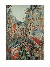 """1977 Vintage IMPRESSIONISM """"RUE MONTORGUEIL DECKED WITH FLAGS"""" MONET Lithograph"""