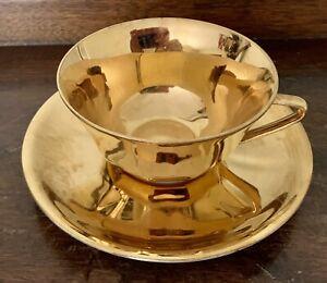Antique La Seynie Limoges France Gold Cup & Saucer Set