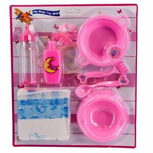 9 Piece Baby Dolls Feeding Accessories Kit & Nappy Set Bottle Dummy Potty Bib