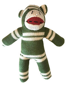 "Dan Dee SOCK MONKEY Green White Stripes Plush 9"" Stuffed Animal Toy"