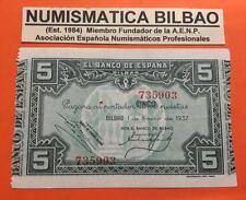 BILBAO EUZKADI 5 PESETAS 1937 BANCO DE BILBAO AUNC @PINHOLE@ Pick S.561 EUSKADI