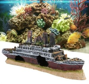 NEW Ancient Ship Aquarium Decoration Resin Titanic Lost Wrecked Boat Home Office