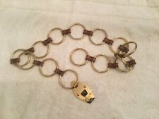 Michael Kors Brown Leather/ Gold Tone Rings Chain Chain Belt Sz adjustable