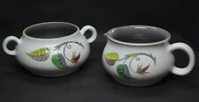 Denby Pottery Spring Pattern Creamer and Sugar Bowl Albert Colledge Vintage
