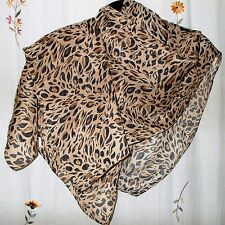 Animal Print, Oblong Scarf, Camel Background w Black & Chocolate Brown