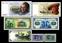 2x 5Pfg,10Pfg - 5,10,20,50,100 Deutsche Mark - 14 Geldscheine BDL1948 - P11-P17