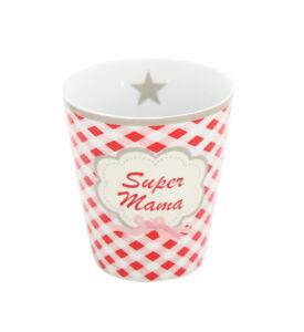 KRASILNIKOFF Mug Becher - Tasse ohne Henkel Super Mama Höhe ca. 10cm HM24