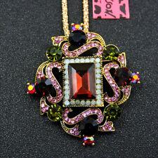 New Charm Women's Enamel Crystal Flower Pendant Chain Betsey Johnson Necklace