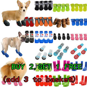 4PCS Pet Dog Cat Paw Protective Socks Booties Rain Boots Anti-Slip Outdoor Shoes