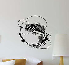 Fishing Wall Decal Fish Hook Rod Vinyl Sticker Fisherman Gift Decor Poster 481