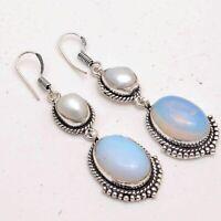 Opalite,Biwa Pearl Ethnic Jewelry Handmade Earrings ME-2317
