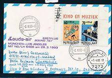 66106) LH / LAUDA FF München - Los Angeles 28.3.93, Karte ab Niederlande