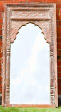 Hand Carved Distressed Indian Mehrab Antique Wall Mirror Statement Piece Chic
