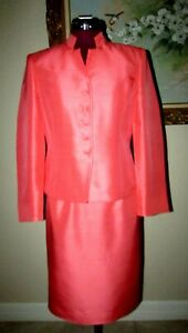 KASPER PETITE 2 PC SZ 4P CORAL FULLY LINED SILK BUTTON FRT SKIRT SUIT WORN ONCE