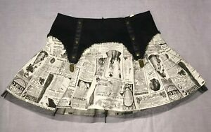 Steampunk Step in time Lip Service Newspaper Ad garter tulle Mini Skirt S Y2K
