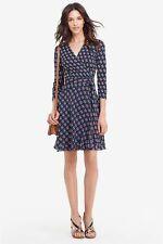 NWT Diane von Furstenberg Irina Silk Zen Flora Midnight Wrap Dress 12 $498